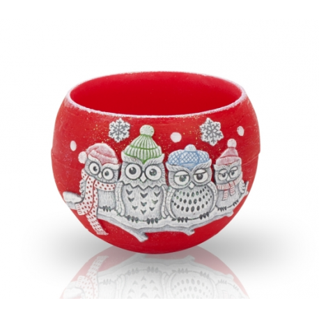 LAMPION WINTER OWLS KULA 120 mm CZERWONY