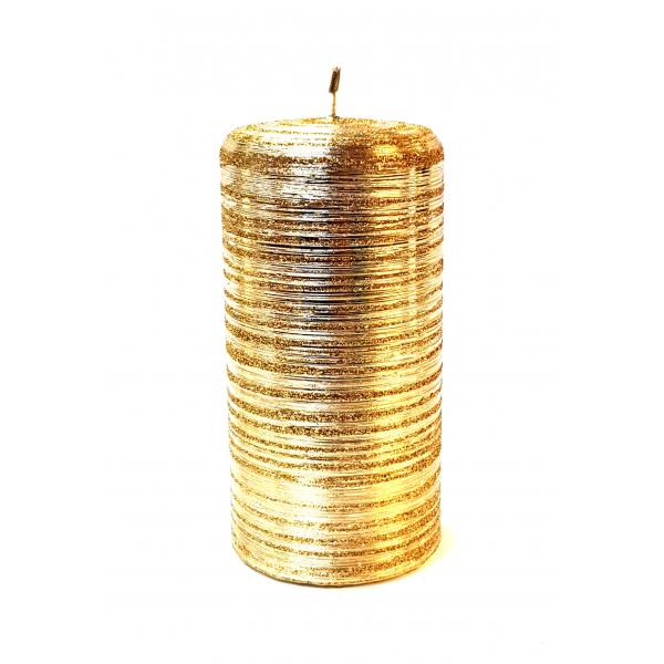 ŚWIECA METALLIC DRAPANY NEW WALEC 70x150 ZŁOTY