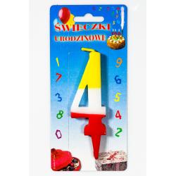 """ŚWIECZKA CYFERKA KOLOROWA """"4"""""""