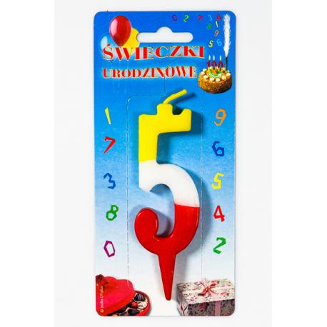 """ŚWIECZKA CYFERKA KOLOROWA """"5"""""""