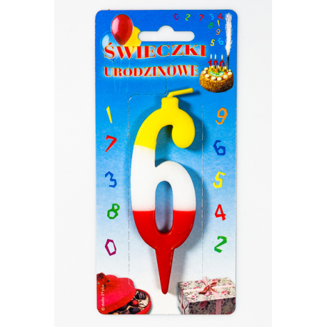 """ŚWIECZKA CYFERKA KOLOROWA """"6"""""""