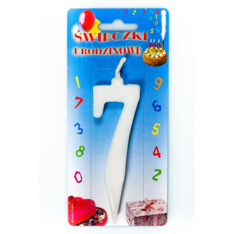"""ŚWIECZKA CYFERKA BIAŁA """"7"""""""