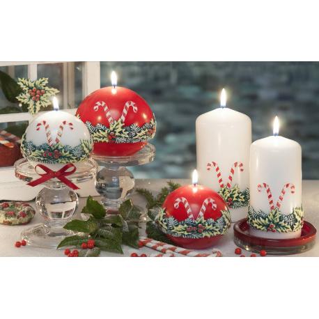 LAMPION CHRISTMAS LOOLYPOPS ŁEZKA 265x95 mm BIAŁY