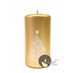 ŚWIECA CHRISTMAS TREE SŁUPEK 60x115 mm ZŁOTY