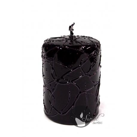 ŚWIECA METALLIC SPIDER 70x100 mm CZARNY