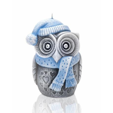 ŚWIECA WINTER OWL FIGURKA 100 mm NIEBIESKI